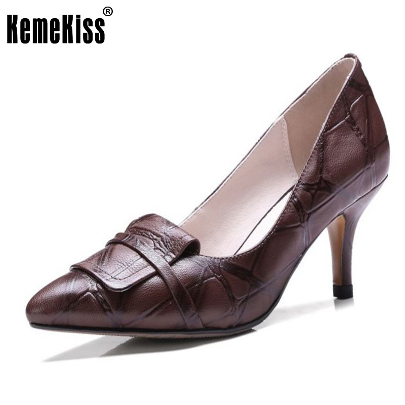 KemeKiss Sexy Women Real Leather High Heel Shoes Women Pattern Bownow Thin Heel Pumps Party Club Shoes Women Footwear Size 33-40<br>