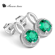 Princess Stone Crystal Earring Nano Green 925 Silver Women Anniversary Celebrity Fashion Jewelry Best Gift for Lover