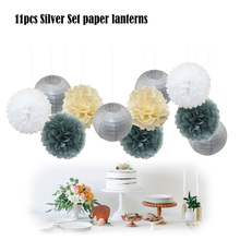 New Silver Grey Set Ceremony Decorative Mixed Size Paper Ball Lantern Tissue Decoration Pom Pom Hanging Decor Party Supplier