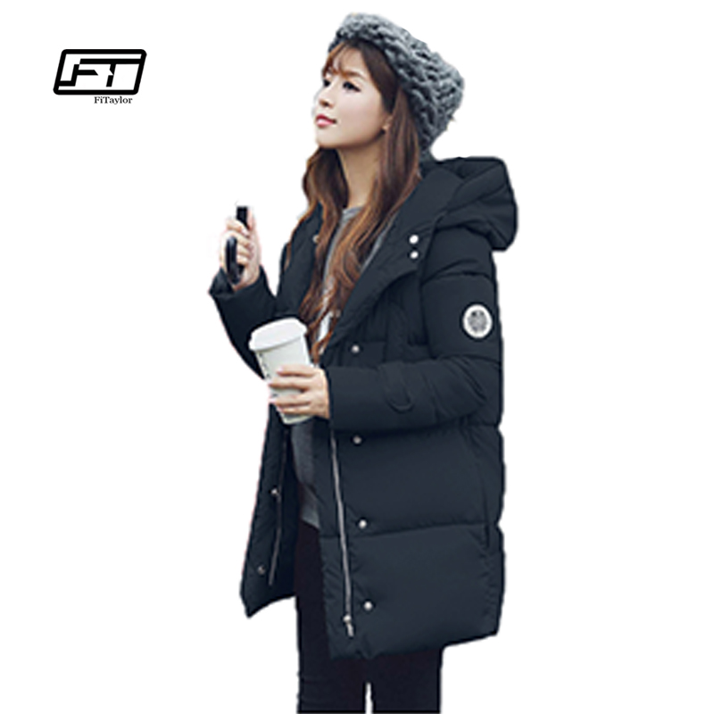 New 2017 Winter Women Snow Cotton Coats Embroidery Medium Long Hooded Jacket Plus Size Loose Fit Wadded ParkasÎäåæäà è àêñåññóàðû<br><br>