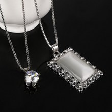 Vogue Geometric Opal Full Crystal Pendant Necklace Rectangle Rhinestone Silver Plated Necklace Jewelry(China)