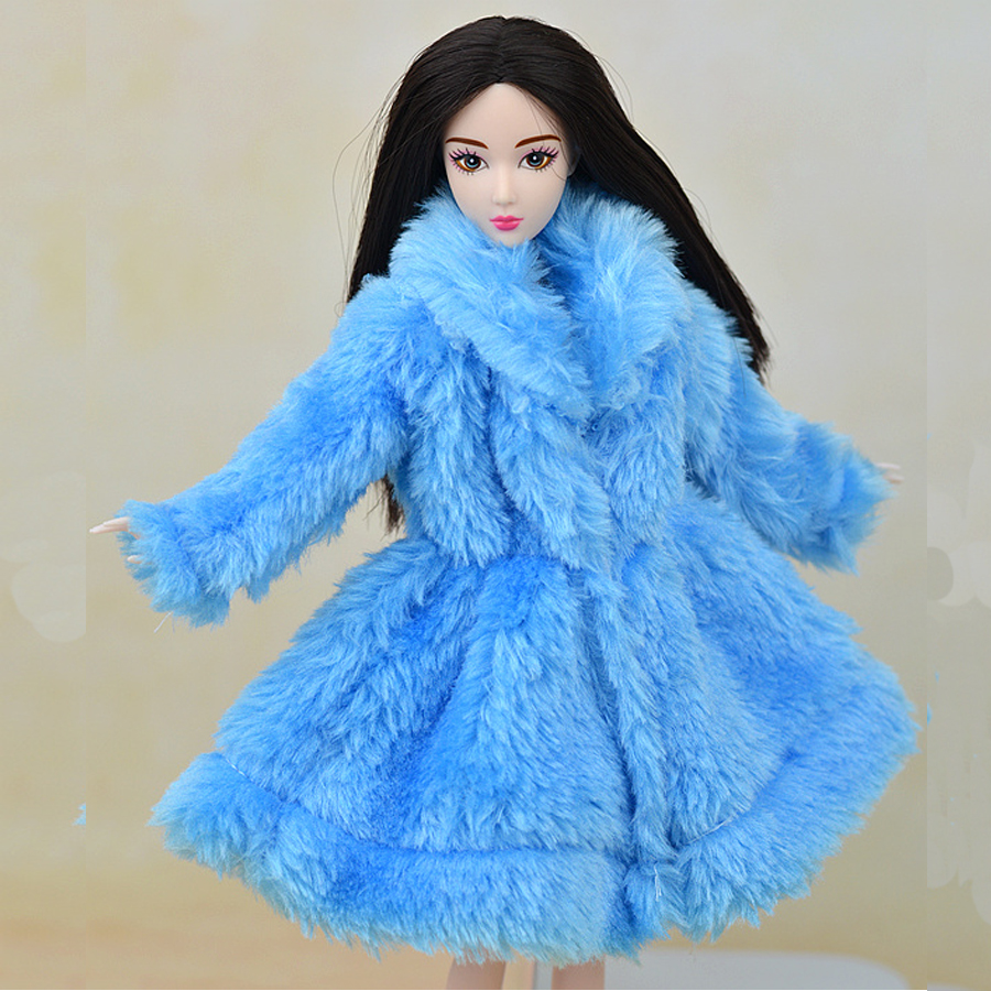 Blue Toy Winter Warm Wear Overcoat Fur Coat Mini Coat Clothes For Baby Doll