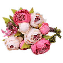 1Bouquet 8 Heads Artificial Peony Silk Flower Leaf Home Wedding Party Decor Dark pink Red Bean Paste Light Pink Brown