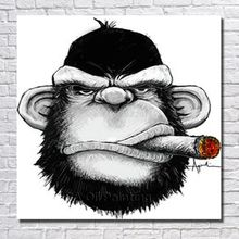 Free Shipping Hand Painted Canvas Oil Paintings Abstract Modren Smoking Monkey Painting Modern Living Room Wall Decor No Framed