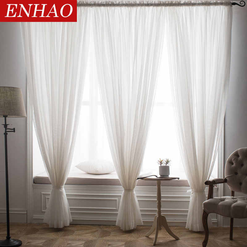 ENHAO Solid Tulle Curtains for Living Room Bedroom Tulle for the Kitchen Modern Sheer Curtains Window Voile Drapes Finished Door