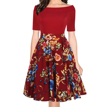 Oxiuly Women's Elegant Sexy Off Shoulder Cut Out Summer Fashion Slim Casual Floral Print Party Club Evening A-line Dress