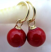 china air express Selling tassel indian jewelry Perfect round pair AAA 16mm Red South Sea SHELL pearl earring jewerly(China)