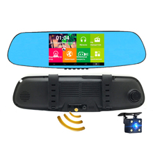 "Car DVR Rearview Mirror Camera 5.0""LCD Android WiFi GPS Navigation 8GB Full HD 1080P Dual Lens+Radar Detector Video Recorder"
