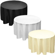"Factory Supply 90"" Round Polyester Tablecloth Table cover Cloth White black ivory-Wedding party(China)"