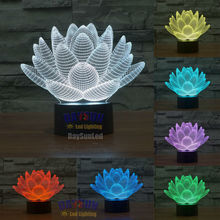 3D Lamp lotus flower Led Night Light Touch Switch All Colors Flash In Turn