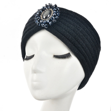 New Fashion Ladies Jewel wool Accessory Winter Warm Floral stretch Turban Soft Knit Headband Beanie Crochet Headwrap Women