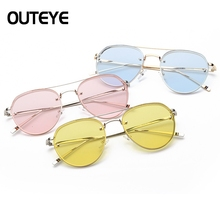 OUTEYE Fashion 2017 Metal Cat Eye Sun Glasses Vintage Steampunk Lens Summer Cool Sunglasses Women Men Brand Designer