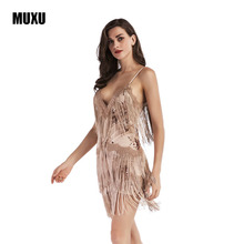 Buy MUXU golden sequin dress sexy womens backless summer womens clothing vestido MINI ropa mujer clothes women suspender dress 2017 for $28.47 in AliExpress store