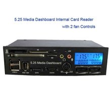 5.25 LCD Display Media Dashboard Internal card reader USB HUB ESATA SATA with 2-fan Controls speaker/microphone