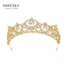 Gold / Silver Vintage Crystal Tiara Bridal Hair Jewelry Prom Crown Princess Party Hats Rhinestone Head Pieces for Women Pageant(China)