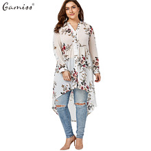 Gamiss Women Chiffon Floral Blouse V-Neck Plus Size Spring Autumn Long Sleeve Shirts With Button Female Top Long Shirts Blusa