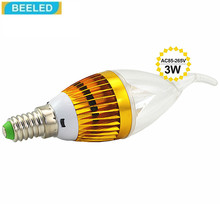 LED Candle bulb lamp Aluminum shell E14 3W Gold white LED Wholesale home lighting AC85-265V(China)