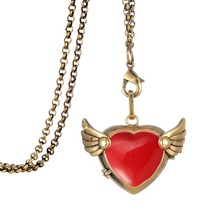 Clearance girls heart locket angel perfume wings diffuser essential oil latest necklace fashion