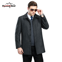 Speed Hiker Mens Wool Coat In The Long Section Turn-Down Collar Breasted Men's Woolen Coat Thicken Winter Wool Overcoat 3XL,4XL