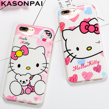 KASONPAI Cartoon Hello Kitty Cases For iPhone 7 6 Plus Case Porcelain Soft Phone Cases For iPhone 6S 7 Plus Cover Coque Fundas