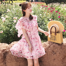 Ky&Q 2017 Runway Casual Luxury New Silk Sweet Fire Bird Printing Imitation Silk Pink Dress Women Loose Dress