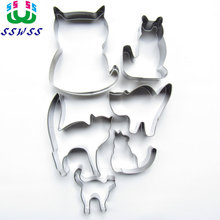 Six Lively Cats Shape Cake Cookie Biscuit Baking Molds,Animal Cake Decorating Fondant Cutters Tools,Direct Selling(China)