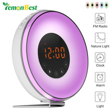 LemonBest Sunrise Sunset LED Lights with Digital Alarm Clock Wake Up FM Radio Electronic Alarm Clocks Touch Sensor Night Light(China)