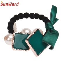 SunWard Good Deal Fashion Cute Bow Square Imitation Hair Band Rope Scrunchie Ponytail Holder Headwear Hair Accessories Gift 1PC