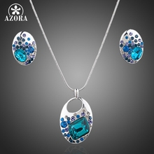 AZORA White Gold Color Blue Stellux Austrian Crystal Necklace and Earrings Jewelry Sets TG0048
