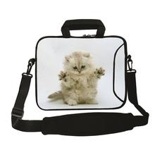"12"" Lovely White Cat Shoulder Neoprene Laptop Bags For Chuwi Apple Dell Lenovo 11.6"" 12.1"" Mini PC Netbook Carry Nylon Briefcase(China)"