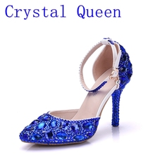 Crystal Queen Lady High Heels Sandals Wedding Shoes Diamond Blue Crystal Shoes Woman Wedding Photo Studio Wedding Dress Shoes(China)
