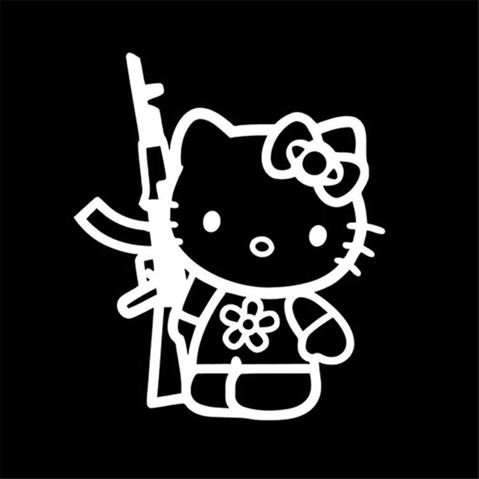 Cunymagos Funny Hello Kitty Rifle Vinyl Sticker Decal Personality Funny Car Styling Fashion Accessories Wall Decorative Stickers 13 (4)