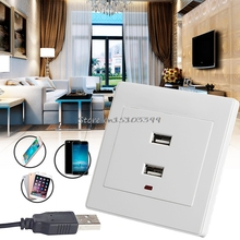 Dual USB Wall Socket Charger AC/DC Power Adapter Plug Outlet Plate Panel Hot #G205M# Best Quality