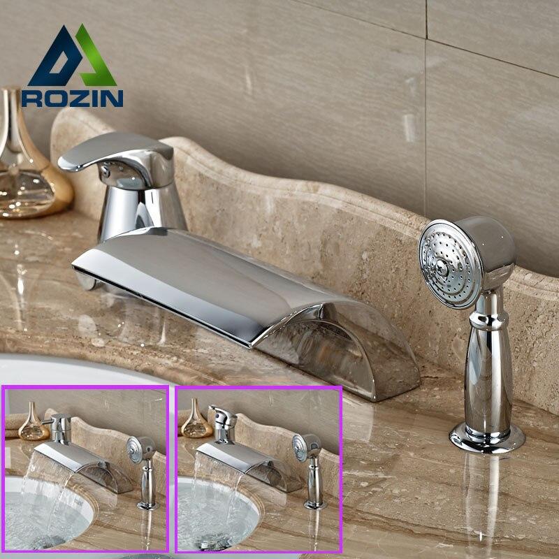 Modern Chrome Brass Widespread Bath tub Filler Deck Mount Waterfall Bathtub Mixer Faucet Single Handle<br><br>Aliexpress