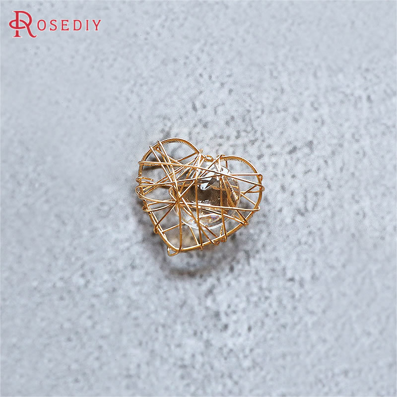 10PCS 24K Gold Color Brass and Zircon Around Metal Wire Heart and Star Shape Charms Pendants Jewelry Earrings Accessories