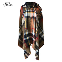 Elegant Women Hooded Tassel Poncho Fashion Plaid Shawls Scarf Female Autumn Winter Warm Keeping Hoodies Wraps Pashmina Scarves(China)