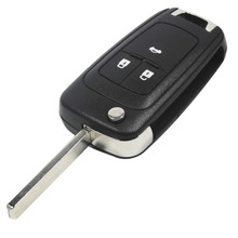 Flip Folding Key Shell for Chevrolet Cruze Remote Key Case Keyless Fob 3 Button Uncut HU100 Blade for Chevrolet LOGO included