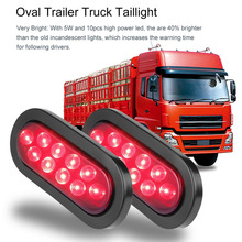 Universal 2pcs 12V Low Power Consumption Long-lasting 10 LED Waterproof Oval Stop/Turn/Tail Warning Light for Truck Trailer Boat