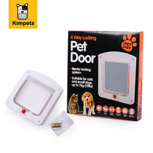 Petiybeauty Pet Dog Cat Door Small Pet Animal 4 Way Magnetic Lockable Door Kitty safe Flap Gate White Color L Size Pet Product(China)