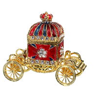 3inch Metal Crown Carriage with Crystal Women Trinket Box Ring Earrings Box Storage Boxes Wedding Jewelry Case Lady Gift Crafts