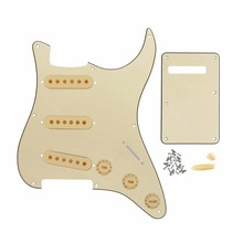 Cream 3Ply Vintage 8 Hole SSS Strat Guitar Pickguard Back Plate Guitar Pickup Covers 2T1V Knobs Switch Tip Whammy Bar Tip Set