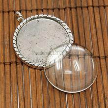 26mm Transparent Clear Domed Magnifying Glass Cabochon Cover for Photo Pendant Making, with Antique Silver Alloy Settings, Lead