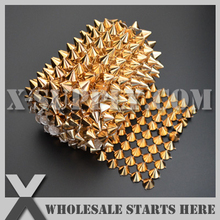 DHL Free Shipping Plastic Gold Mesh Cone Stud Trim for Sewing on Garment Decoration,Clothing,Shoes/Wholesale(China)