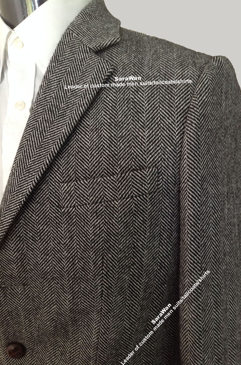 Custom Made To Measure Winter Jacket Man, Tailor Made Tweed Herringbone Topcoat, Manteau Homme, Bespoke Winter Coat Men 2017