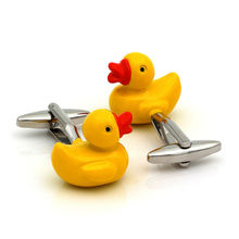 Yellow Rubber Duck Design Cufflinks Fancy Gifts Personalized Cuff Links for Men(China)