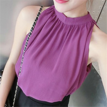 2017 Summer Fashion Solid Sleeveless Women Shirt Office Ladies Chiffon Blouses New Arrival Feminina Elegant European Blusa 64428(China)