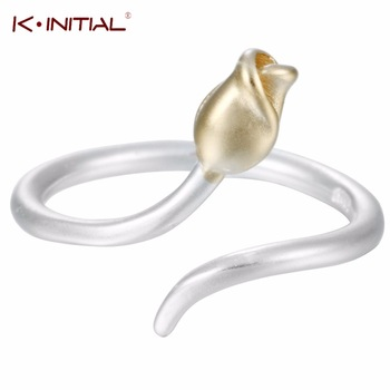 1Pcs 925 Sterling Silver Jewelry Trendy Flower Buds Gold Tone Matt Adjustable Midi Finger Round Ring Size female Agent for Girls