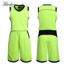 Blank Basketball Tracksuit for Men Breathable Quick-dry Sports Suit Basketball Jersey Teams Competition Training kit Running(China)