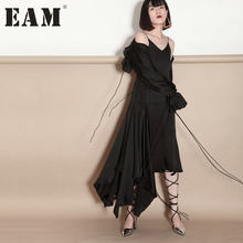 [EAM] 2017 autumn Fashion Bandage Drawing V-neck Strapless Irregular Camisole Solid Color Sexy Dress Tide Women J823(China)