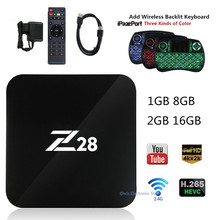 Z28 Android 7.1 Smart TV Box Rockchip RK3328 64bit Cortex A53 1GB 8GB 2GB 16G H.264 265 4K USB 3.0 WiFi set top Box